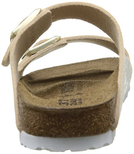 Birkenstock Damen Arizona Birko-Flor Pantoletten Beige (Shiny Snake Cream)