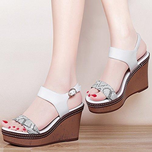 GTVERNH-white 7.5cm sandali sexy femminile estate pendio con i tacchi alti spesso in basso a bocca di pesce una rozza con match femminile le scarpe,37 Thirty-nine