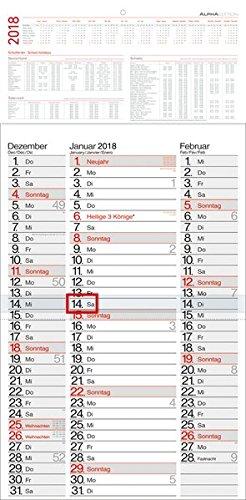 3-Monatskalender - Streifenplaner 2018 - Wandkalender / Bürokalender (30 x 59) - mit Datumsschieber - mit Jahresübersicht - 3 Mittlere Streifen