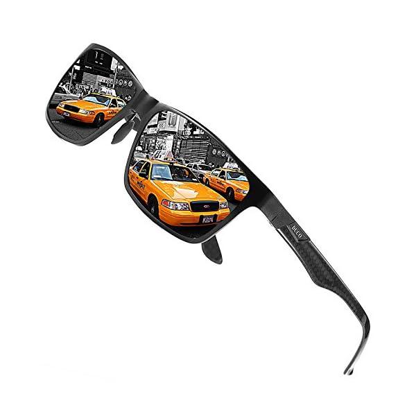 DUCO Sunglasses for Men Carbon Fiber Temples with Rectangular Polarized Metal Frame Sunglasses 8206 1