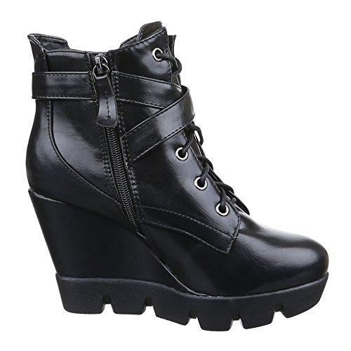 Damen Schuhe Keilabsatz Plateau Reißverschluss Keilstiefeletten Stiefeletten Keilabsatz/ Wedge Schwarz