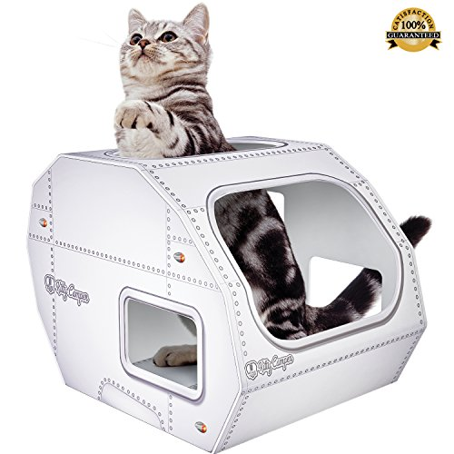 ***NEW *** Cardboard Cat House – The Kitty Camper Is The Perfect Playhouse, Castle And Bed For Indoor Pets – Just Add Cat Toys & Feel Good About Leaving Your Kitten or Rabbit At Home-*FREE* EBook – Money Back Guarantee