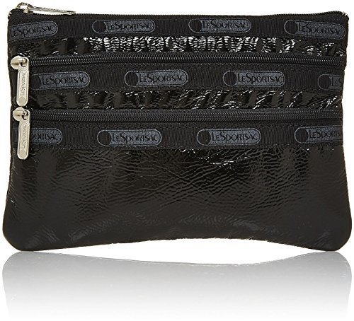 LeSportsac 3-Zip Cosmetic - Black Crinkle Patent by LeSportsac