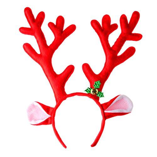 Spieland Geweih Haarreif Rentier Elchgeweih Kopfbügel Stirnband Weihnachtsschmuck für Weihnachten Fasching Kostüm Party