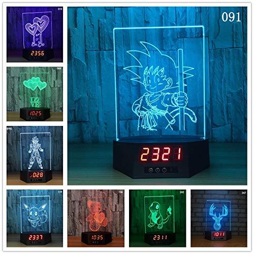 Dragon Ball Herz Bär Schiff 3D Illusion Kalender Uhr Lampe LED USB 7 Farben Nachtlicht Remote Touch Tischlampe Für Wohnkultur (Schiffe, Uhren)