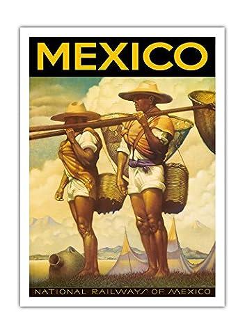 Mexique - Chemins de fer nationaux du Mexique - affiche ancienne vintage poster de voyage en train chemin de fer c.1950s - Prime 290gsm Giclée Imprime - 30.5cm x