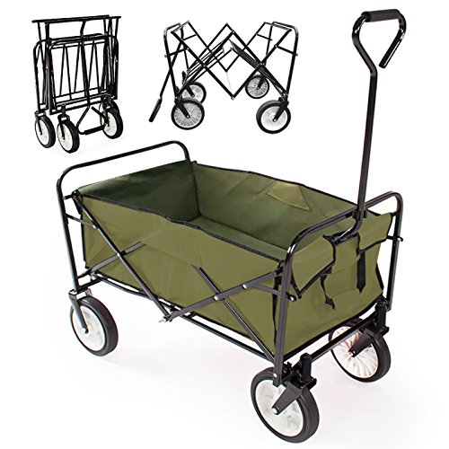 popamazing-uk-foldable-cart-wagon-garden-cart-shopping-beach-storage-bag-olive