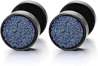 8MM Negro Azul Enchufe Falso Fake Cheater Plugs Gauges, Pendientes de Hombre Mujer, Aretes, Acero Inoxidable, 2 Piezas