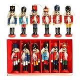 Generic vLoveLife, Geburtstagsgeschenk, 6 Stück Holz Nussknacker Soldat Figuren Puppen, Figuren Puppen, Spielzeug, Weihnachtsbaum-Ornamente Zuhause Party Dekoration