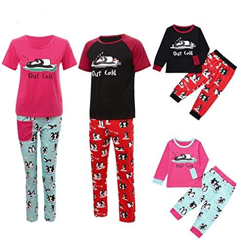 Weihnachten Familie Set Mama Papa Baby Pinguin Brief Bedruckt Schlafanzugoberteile+Pinguin Hosen Familie Schlafanzüge Pyjamas Nachtwäsche Set