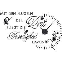 GRAZDesign 800065_BK_070 Wandtattoo Uhr Wanduhr mit Uhrwerk für Wohnzimmer mit Den Flügeln der Zeit (92x57cm//070 Schwarz//Uhrwerk Schwarz)