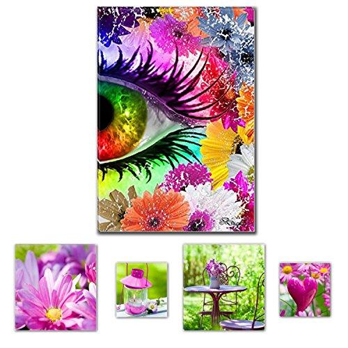 Eco Light Wand Art Canvas Bundle der Spektakuläre Farben Eye II von Diana 80x 119,9cm für Home Décor und Liebenswürdig, Wohnzimmer und Schlafzimmer pink Collage Set von 4Artwork modernen gerahmt (Dragon Komfort-hose)