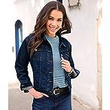 Klassische Damen-Jeansjacke mit Langen Ärmeln und Metallknöpfen,Bedruckt,M