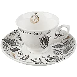 Victoria Albert Alicia en el país de las maravillas taza de café y platillo, color blanco