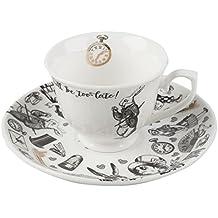 Inconnu Tasse et soucoupe Alice au pays des merveilles Victoria & Albert, Porcelaine, blanc, 6 x 12.5 x 12.5 cm