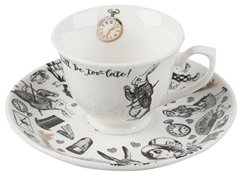 Tasse et soucoupe Alice au pays des merveilles Victoria & Albert, Porcelaine, blanc, 6 x 12.5 x 12.5 cm