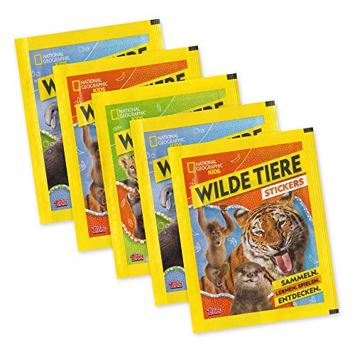 National Geographic Kids - Wilde Tiere - 5 Booster 25 Sticker - deutsche Ausgabe -