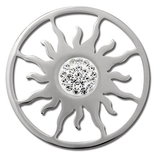 Amello Sonnenblume Münzen Silber Zirkonia 30 mm Edelstahl Ecke ESC533JW (Marke Tous)