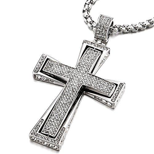 COOLSTEELANDBEYOND Collana con Pendente Croce con Zirconi, Uomo Donna Ciondolo Croce, Acciaio Inossidabile, Catena Grano 75CM