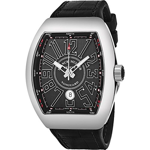 Franck Muller Men's Vanguard Leather Band Automatic Watch 45SCSTLBLKSILSH