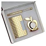 #6: MSA Jewels 3 In 1 Premium Gift Set Of Golden Apple Clock With Crystal Pen And Business Card Holder With Premium Packaging