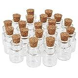 Pandahall 20PCS Bottiglie Wishing Bottiglie Vetro con Tappo in Sughero Flaconi Vuoti Desiderio Contenitori di Perline, 22x15mm