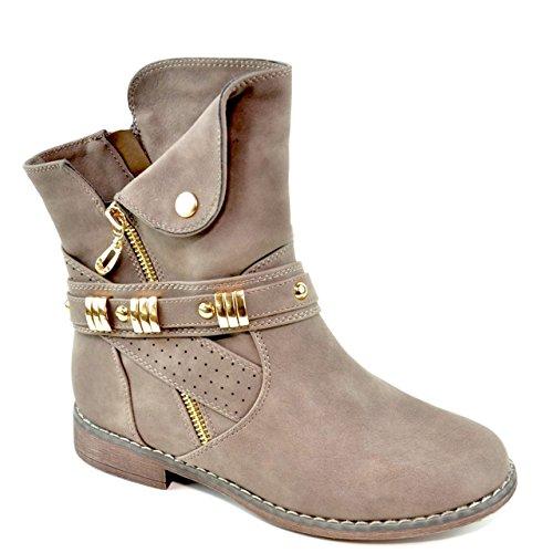 King Of Shoes Damen Stiefeletten Stiefel Schnalle Schlupf Biker Boots Nieten Reißverschluss...