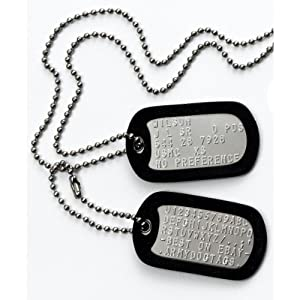 MILITARY DOG TAGS - Set of 2 personalised army style dog ID tags with ball chains & silencers<br>(READ DESCRIPTION TO SEE HOW TO ADD PERSONALISATION) by Army Dog Tags