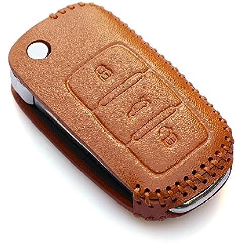 Protección de clave coche funda Fob holder-fit Volkswagen VW Polo Tiguan Passat B5B6B7Gol Golf MK6EOS Scirocco Jetta MK5accesorios, marrón