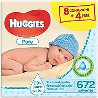 Huggies Pure Salviette Umidificate per Bambini, 4 pacchetti di 3 unità ciascuno (12 pacchetti in totale- 672 salviette)