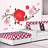 Stickers Muraux Amovible Autocollant Mural Amovible Rose Rouge Pvc Pvc 78 * 130Cm