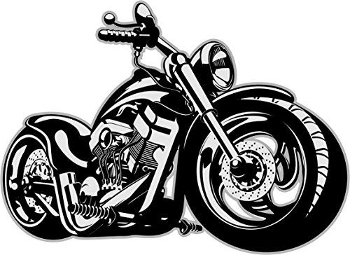 easydruck24 Wandtattoo Custom Bike, Art. Nr. kfz_520, Schwarz/Weiß, Harley Moped Chopper, Tattoo für die Wand, Matt laminiert, Vergilbungsfrei, Raufaser geeignet (1800mm x 1300mm) -