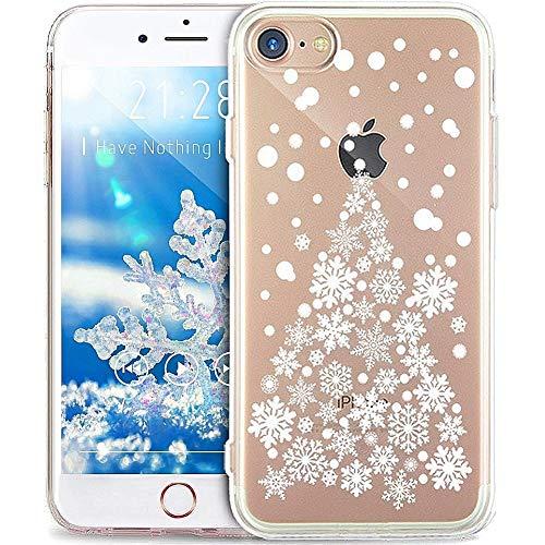 Kompatibel mit Hülle iPhone 8/7 Hülle,Durchsichtig mit Xmas Christmas Snowflake Weißen Weihnachten Schneeflocke Hirsch Klar TPU Silikon Handyhülle Schutzhülle,WeißerWeihnachtsbaumSchneeflocke