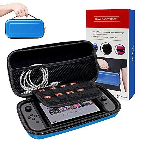 Funda para Nintendo Switch, Keyye Impermeable portátil de viaje bolsa con Shell protector duro Más grande Espacio de almacenamiento para 10 cartuchos de juego, Switch Console e Otro Accesorios-Azul