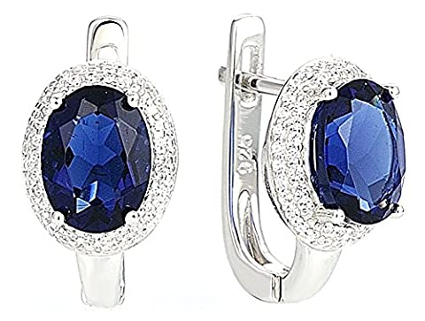 SaySure - Silver Stud Earrings Oval Blue and White CZ Diamond