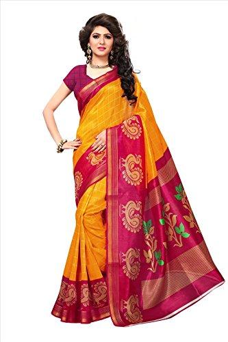 Fragrance Trendz Women's Bhagalpuri Silk Zari Border Printed Saree With Blouse Piece.(Bhagalpuri 806_Yellow_Free Size)