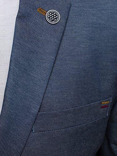 ozonee Uomo Giacca sportiva SPORTIVO Giacca Giacca vestibilità slim blazer giacca vestito vestito LAVORO MANTELLA CORTA BLACK ROCK 02 Blu Navy