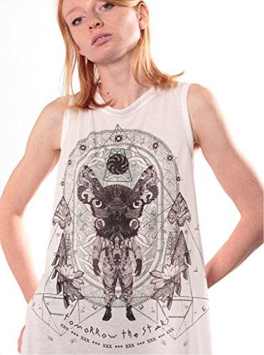 Top smanicato con twist sulla schiena da donna – Top con stampa grafica Tomorrow the Stars - abbigliamento urbano Street wear Beige