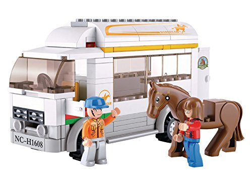 Funstones - Bausteine Bau Steine Bauernhof Pferde Transporter LKW + Pferd + Mänchen Figur Fahrer Reiterin (Lego City Bauernhof-tiere)