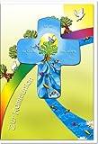 """metalum Premium-Glückwunschkarte zur Kommunion mit schön gestaltetem Metall - Kreuz """"Ich bin die Quelle des Lebens"""" zum Aufhängen"""