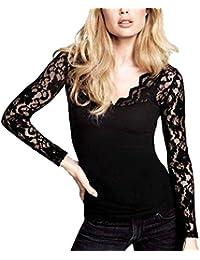 DJT Damen Langarmshirt Bluse V-Ausschnitt Kragen mit Floraler Spitze
