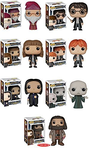 Funko Pops! Complete Set of 7 ~ Harry Potter Voldemort Albus Dumbledore Hermione Granger Ron Weasley Severus Snape and 6 Rubeus Hagrid by Harry Potter, Warner Brothers, Sorcerer's Stone (Brothers Potter-warner Harry)