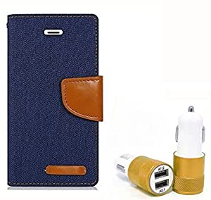 Aart Fancy Wallet Dairy Jeans Flip Case Cover for MicromaxQ380 (NavyBlue) + Dual USB Port Car Charger with Smartest & Fastest Technology by Aart Store.