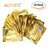 Aliver Luxury Crystal 24K Gold Gel Collagen Eye Mask, Premium Anti Aging, Anti Wrinkle Products with Hyaluronic Acid, Collagen, Moisturiser for Under Eye Wrinkles, Remove Bags Under Eyes, Eye Bag Removal, Under-eye, Dark Circles, Skincare, Hydrating, Puffy Eyes. Gifts for Women(20 Pairs)