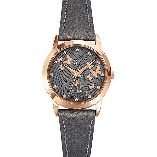 Go Girl Only–698698Damen-Armbanduhr 045J699Analog silber–Armband Leder Grau
