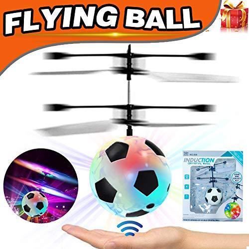 AMENON Kinder Flying Ball, RC Fliegende Spielzeug mit Led leuchten Spielzeug Infrarot Induktion Hubschrauber Drohne Fallschirm Jungen Mädchen Erwachsene Geschenke für Ostern Geburtstag Draußen