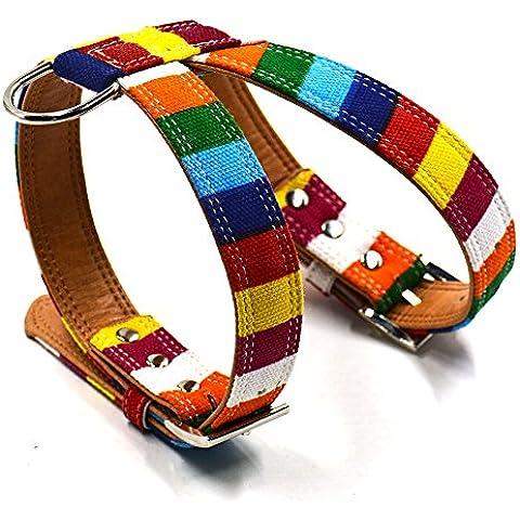 Banda de Pecho Arnés de Collar Ajustable para Mascotas Perro Cuero PU Bling Arco Iris - METRO