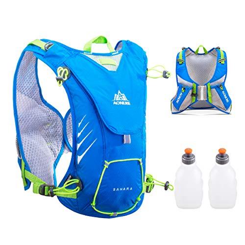 TRIWONDER 8L Trinkweste für draußen Mochilas Trail Marathoner Laufen Race Trinkrucksack Rucksack passt Frauen Männer Kinder (Blau - mit 2 Wasserflaschen)