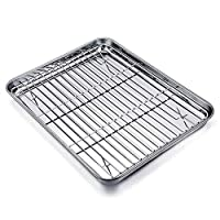 TeamFar Baking Tray and Rack Set, Stainless Steel Baking Pan Cookie Sheet with Cooling Rack, 12.5 x 10 x 1 inch, Non Toxic & Healthy, Easy Clean & Dishwasher Safe