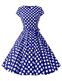 Dressystar Damen Vintage 51er Cap Sleeves Dot Einfarbig Rockabilly Swing Kleider Royalblau Weiß Dot B XL